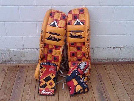 Trevor Kidd's signature checkerboard Brian's Air Pac pads. #goaliesonly #trevor #kidd #brians #airpac #checkerboard #custom #goalie #pads