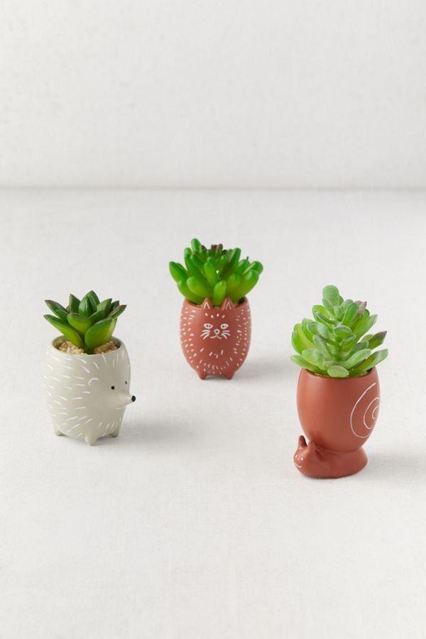Tiny Animal Pot Faux Succulent Faux Succulents Succulents Succulent Pots