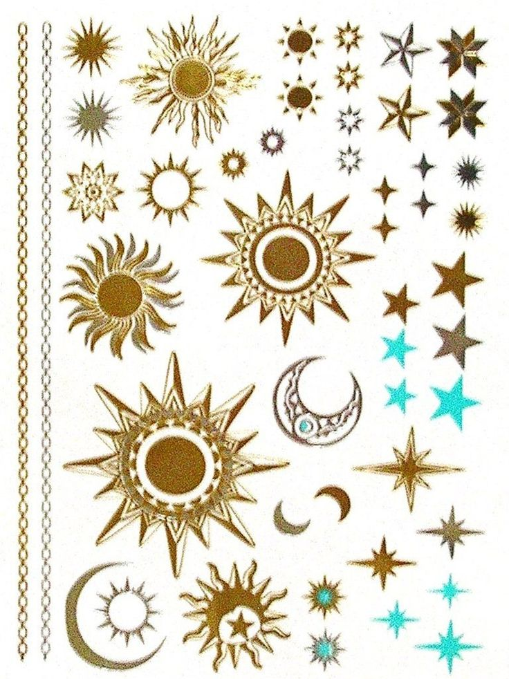 Celestial Mystic Tattoos Metallic Temporary Tats In Gold Silver And Turquoise Sun Moon And Stars Mystical Sun Worship New Age Twilight