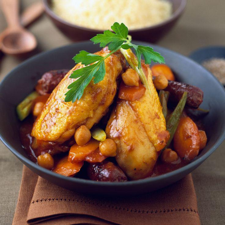 Découvrez la recette Couscous poulet merguez sur cuisineactuelle.fr.