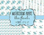 Watercolour paper: Digital download - pretty blue florals