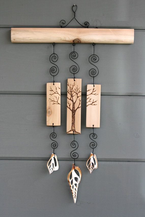 Winter Tree Wall Hanging Mobile Woodburning