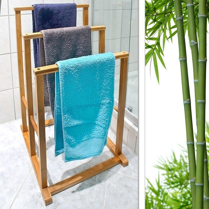 Handtuchständer mit viel Platz für die Handtücher der ganzen Familie https://relaxdays.de/handtuchhalter-bambus-10017153.html