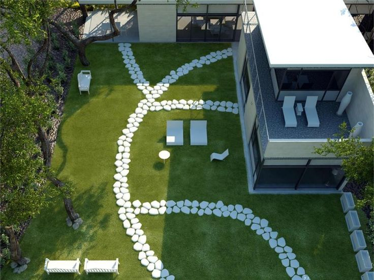 Small House Design With Large Backyard Green Grass And Natural Stone  Decoration Fun Backyard Design Ideas