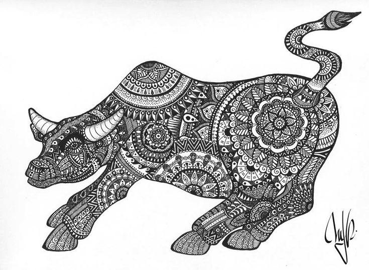 Bull Zentangle Bull Hand Drawn Mjrart Toro Mandala