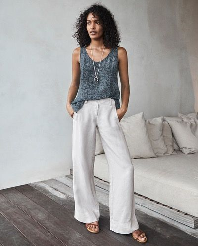 Poetry - Wide leg trousers - Summers essential wide-leg linen trousers simply styled with a deep waistband and two angled, jetted side pockets. In our soft-washed heavier weight linen, with a textured, garment-dyed finish. 100% linen