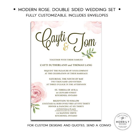 Modern Rose Double Sided Pink Gold And Succulent Green Wedding Invitation Suite With