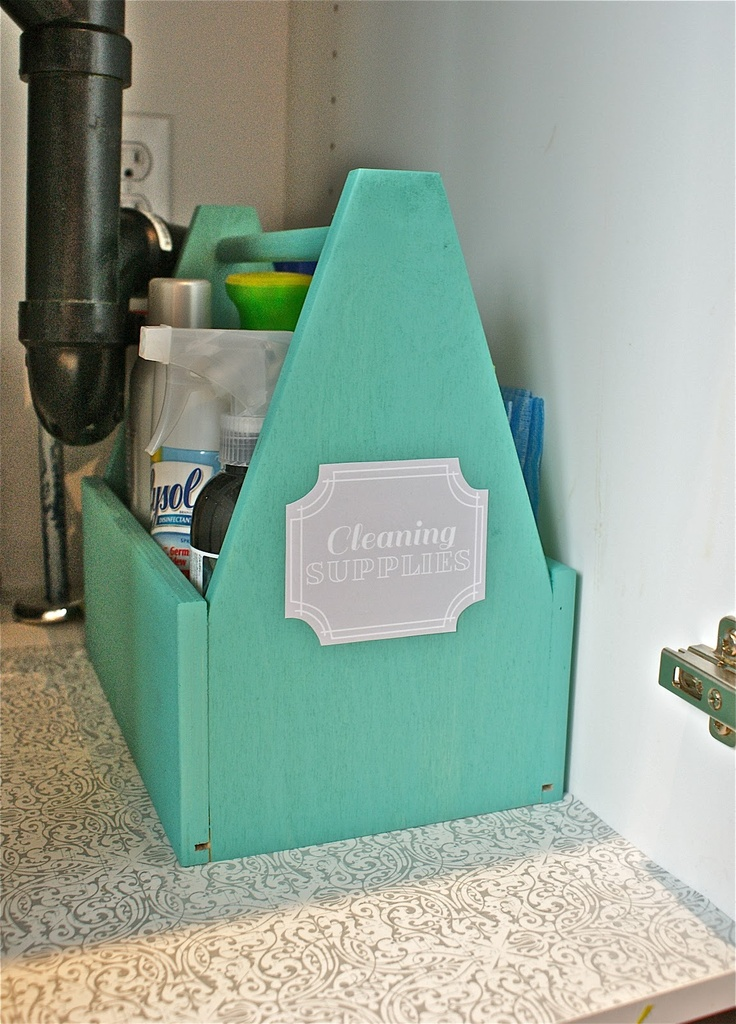Cute way to organize cleaning supplies :)