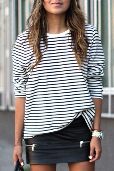black + white striped