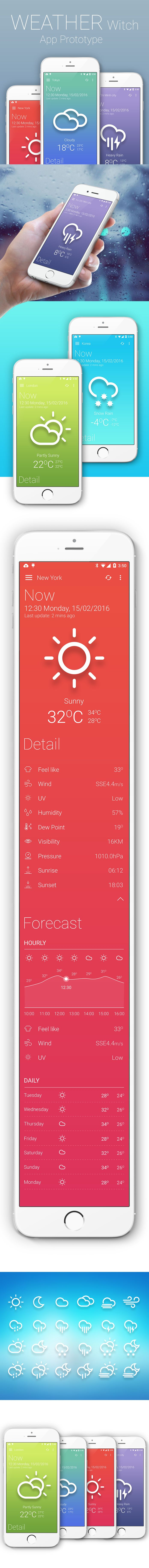 Weather witch app prototype on Behance