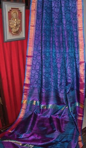 #Saree Pure Uppada Silks with Inhouse Kalamkari Blockprinting CODE:- PUS 7 To order mail us at fashionsblossom@gmail.com