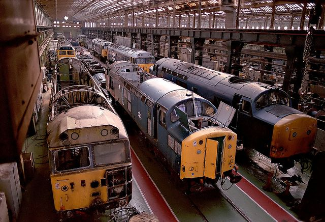 Doncaster Works Open Day on 27th July 1984. At the front (left) is 50041 (ex D441) 'Bulwark' which was damaged when it became derailed at Paddington on 23rd Nov 1983.