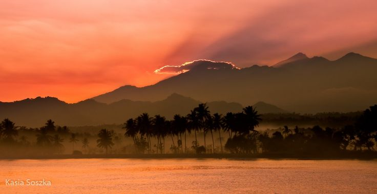 Sunrise over Lombok.