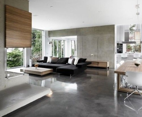 Vancouver area living area with smooooth concrete floors. Gaile Guevara.