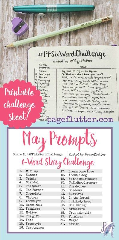 Six-Word Story Challenge: May Prompts | pageflutter.com | These challenges are so fun and inspiring! Write a six-word story each day based on the prompt. Take the challenge!