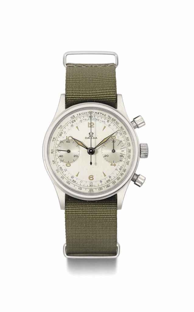Omega. A large, rare and attractive stainless steel military chronograph wristwatch, manufactured in 1953
