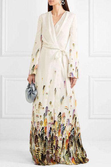 e005a819 Jenny Packham | Printed satin wrap gown | NET-A-PORTER.COM | Stuff I ...