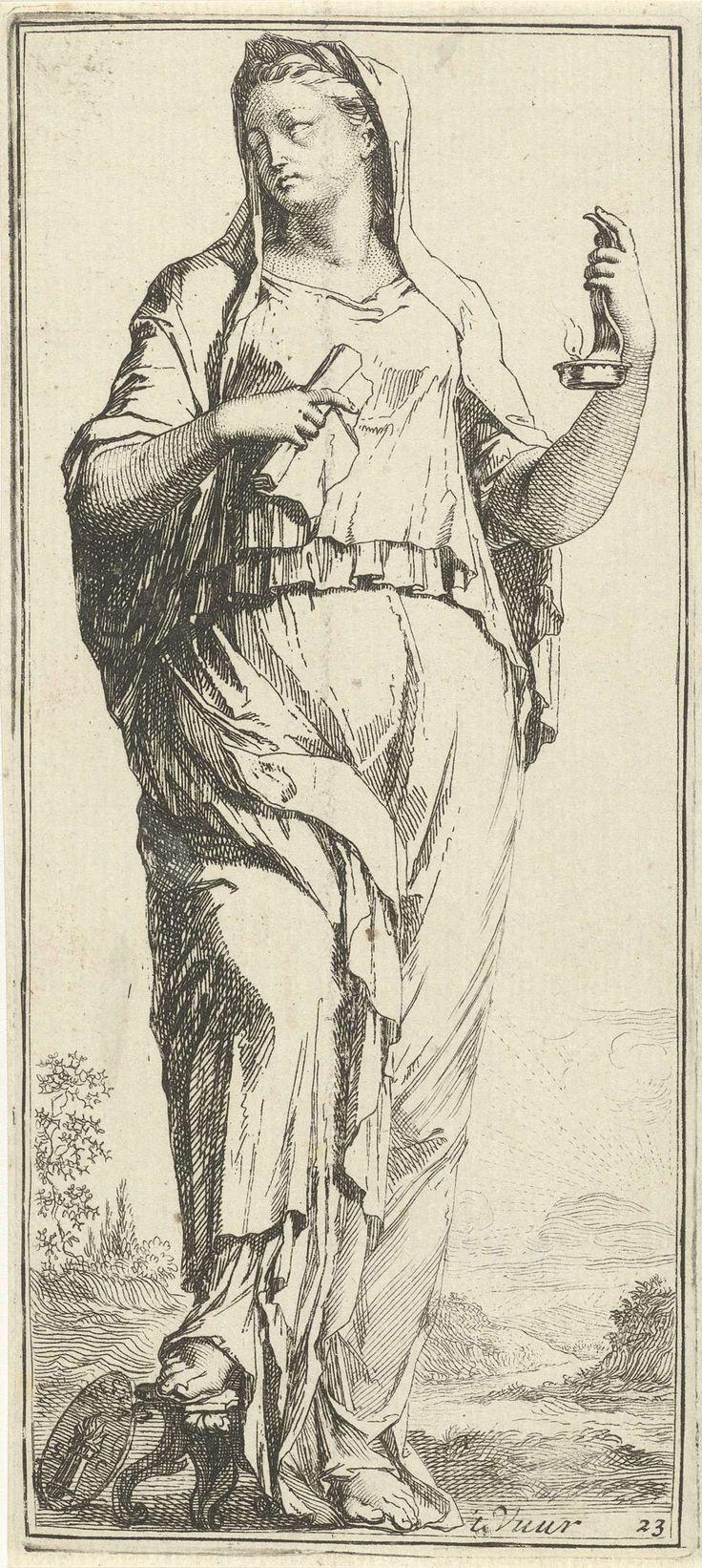 Arnold Houbraken | Personificatie van vuur, Arnold Houbraken, 1710 - 1719 | Een vrouwfiguur als personificatie van vuur met in haar linkerhand een kaarsenhouder met een vlam en in haar rechterhand een opgerold vel papier. Aan haar voeten een medaillon met daarop een kolom met vuur. Prent uit een serie van 41 zinnebeelden.