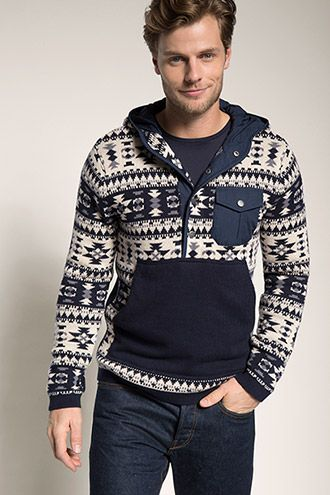 Esprit - Norweger Strick Hoodie, 100% Baumwolle im Online Shop kaufen
