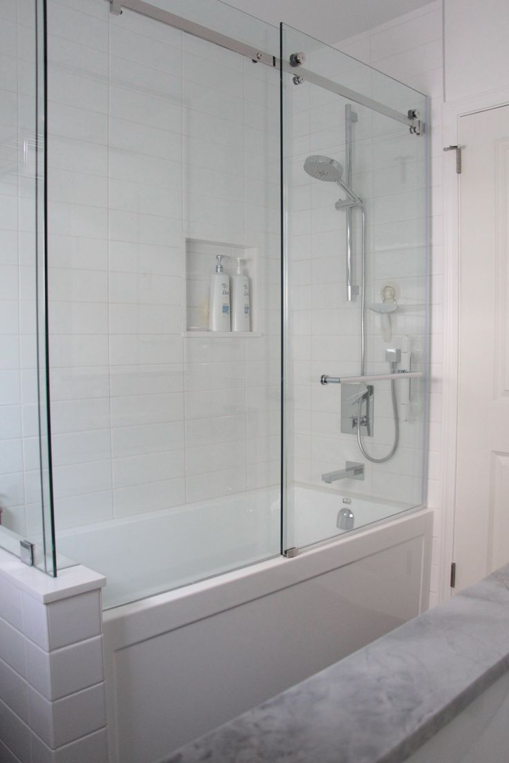 Frameless Glass Shower Pony Wall Sliding Door Master