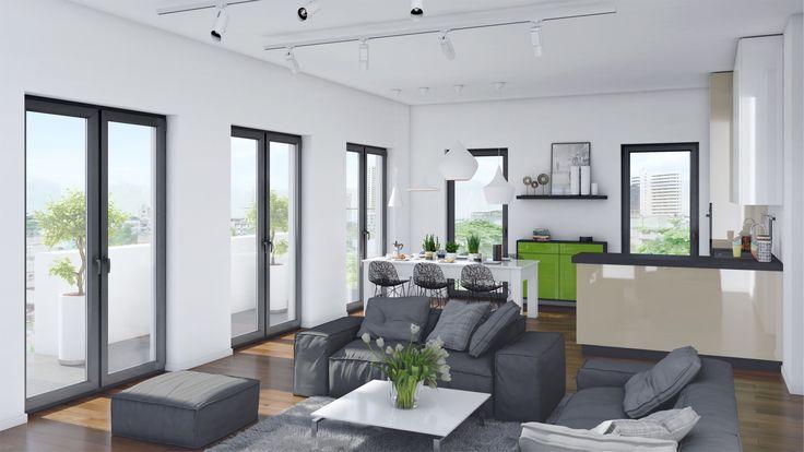 Living room interior visualization / Wizualizacja salonu z kuchnią.
