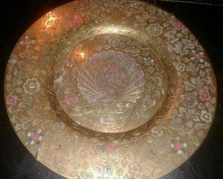 Antique Korean Brass Plate Handpainted Engraved Peacock photo