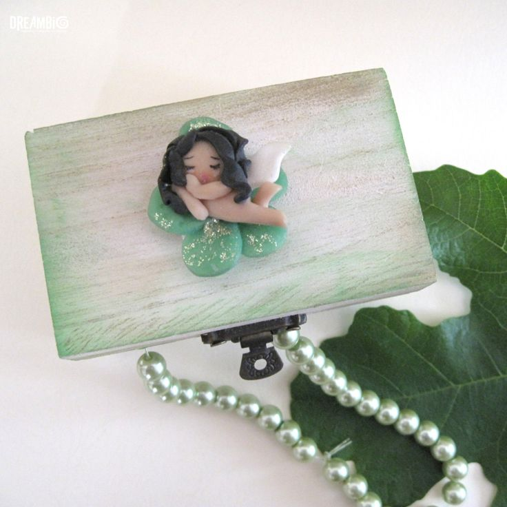 Sleeping fairy on a wooden box, Polymer clay fairy, Miniature spring fairy green , Jewelry box OOAK by DreamBigHandmade on Etsy