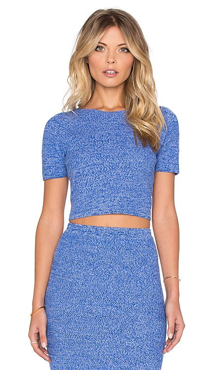 Alice + Olivia Solange Crop Top in Blue & White   REVOLVE