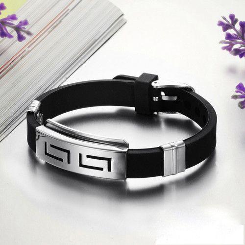 Hot Sale Men's Black Punk Rubber Stainless Steel Wristband Clasp Cuff Bangle Bracelet pulseira de aco com borracha