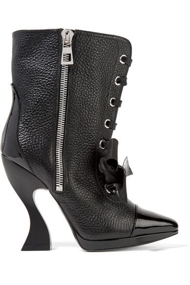 Loewe - Patent-trimmed Textured-leather Boots - Black