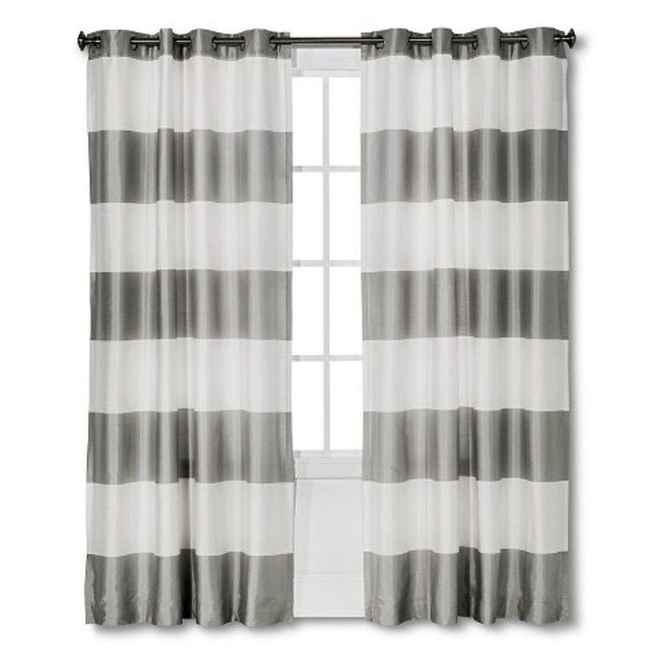 "Threshold Bold Stripe Grey Lined Curtain Panel 54"" x 84 NEW #Threshold"