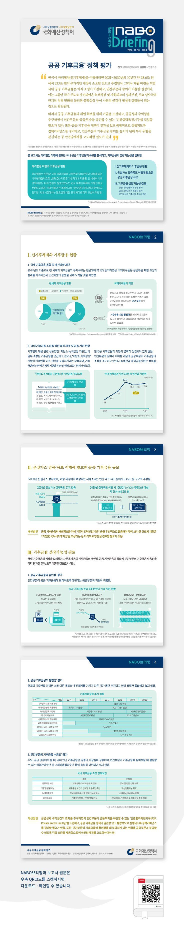 [국회예산정책처] 공공 기후금융 정책에 관한 보고서를 요약한 인포그래픽