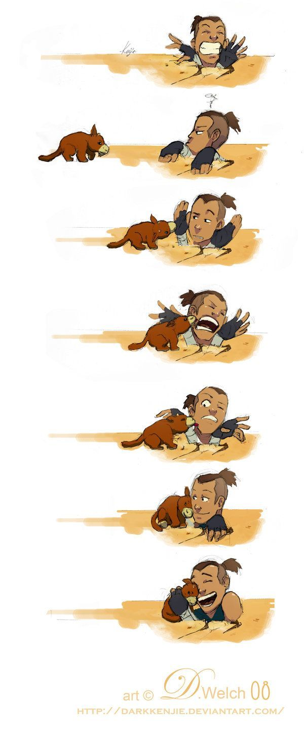 Sokka and Foofoocuddlypoops, from Avatar: The Last Airbender.