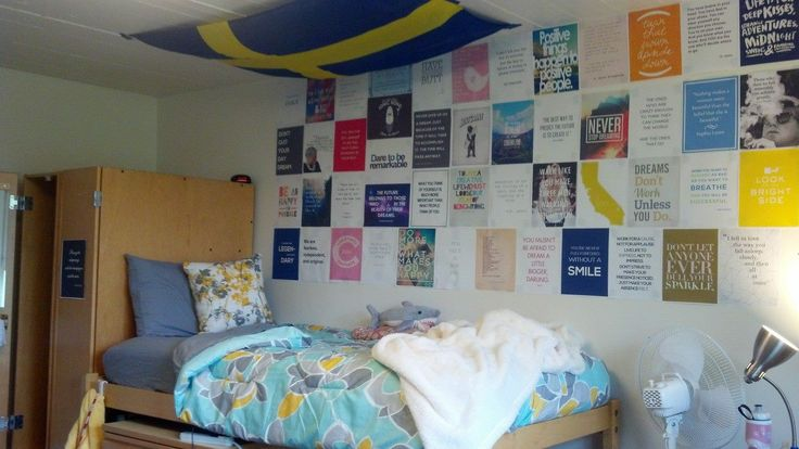Stanford dorm room. Cute quote prints and Swedish flag!