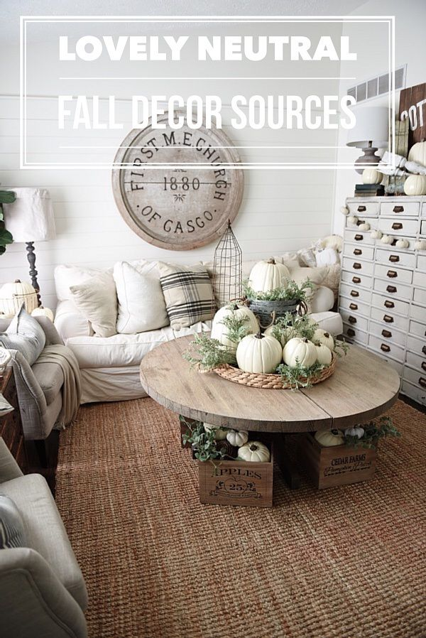 Neutral fall home decor sources rustic neutral cottage for Neutral decorating ideas