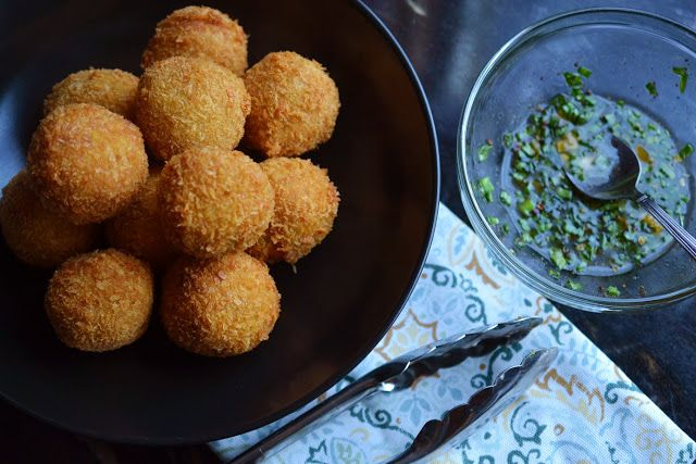 Jamaican Yellow Yam croquettes with honey escovitch sauce