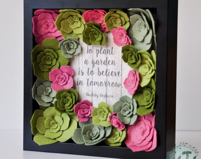 Felt succulent  box frame, Floral Wall Art, Picture box frame, Custom frame Quote,  Personalised Gift, Vertical Garden, Flower Box