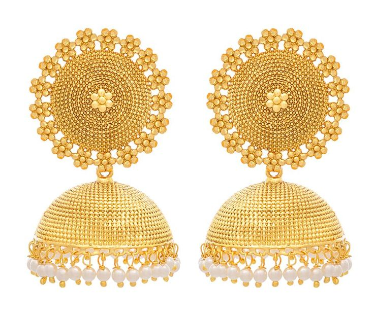 BFC- Traditional and Ethnic One Gram Gold Plated Designer Jhumka Earrings with Pearls. Ht: 6 cms, Wd: 3.3 cms, Wt: 22 gms OFFER Price INR 1349/- COD Original Price INR 1999/- Product Code: ER-1008-111-MD Free Shipping n COD in India, International Shipping Available. To Order: Pls. forward your complete postal address with landmark, mobile no. or call/sms/whatsapp me on +917715079167. Neelam.