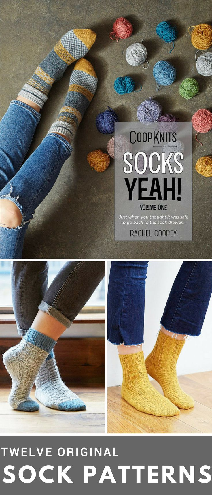 Enough sock patterns to knit a pair every month this year! Can buy the book on its own, or with two skeins of the Socks Yeah! yarn. #affiliate #socks #knitting