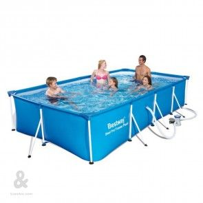 Piscina tubular rectangular azul Bestway 400x211x81cm, depuradora 1249 l/h, capacidad 5.700 litros