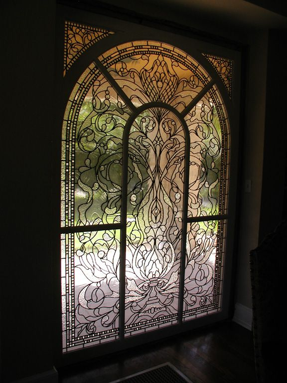 Leaded clear textured glass Victorian style window for a landmarked private residence Fort Worth, Texas. - Degenhardt Glass Studios