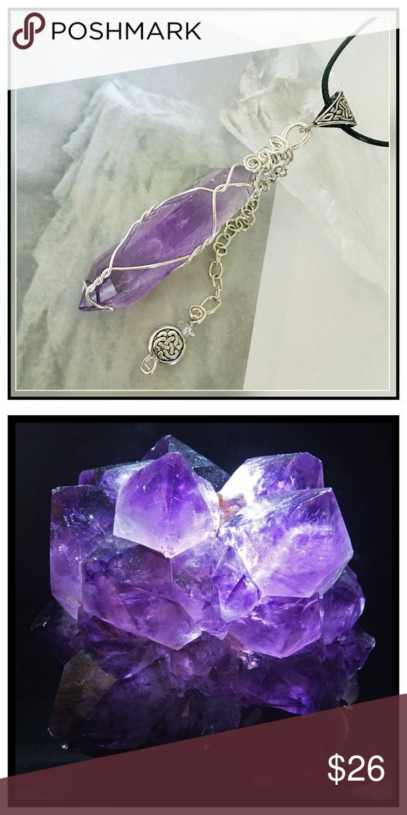 ✨Chunky Double-Terminated Amethyst Necklace✨ ✨Beautiful Natural Raw Amethyst Stalactite Healing Stone Necklace✨Beautiful and Vibrant Natural Amethyst has the ability to transform lower energies into higher energies and acts as a healer at all levels of the mind, body, and spirit✨The healing powers of Amethyst date as far back as the Greeks who believed Amethyst protected a person from the intoxicating effects of alcohol✨Amethyst correlates to the crown chakra✨Large Chunky Amethyst…