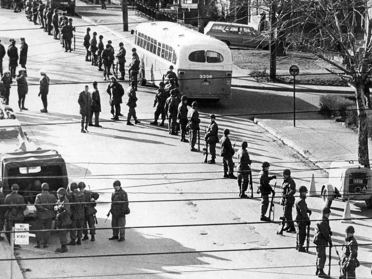 Soldiers line a Montreal street in 1970 at the time of the October Crisis. The rise of separatism coincided with a wave of protest sweeping the western world, including the civil rights and anti-Vietnam War movements, Jack Jedwab says. AUSSIE WHITING / MONTREAL GAZETTE