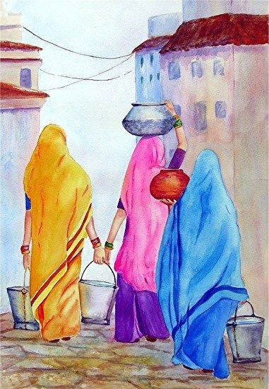 Shared Community ~ Carrying Water by Suzanne Shaffer Stone ~ Watercolor