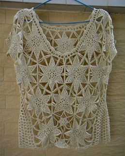 Tina's handicraft : crochet shirt with hexagon stars