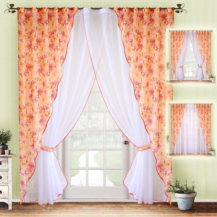 Комплект штор с вуалью ИОНА оранжевые лилии от РеалТекс (Россия) - купить по…