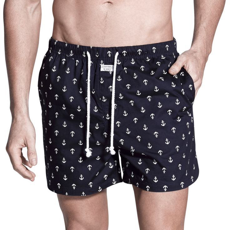 Penkivil Boxer Shorts in Navy & White Anchor   Campbell & Hall #campbellandhall #boxershorts #shorts #anchor #mensclothing #beachwear #sleepwear #boxers #navy #menstyle
