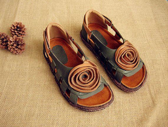 Hueco sandalias, zapatos de cuero, zapatos con cuero planos de las mujeres a mano, verano zapatos sandalias para las mujeres