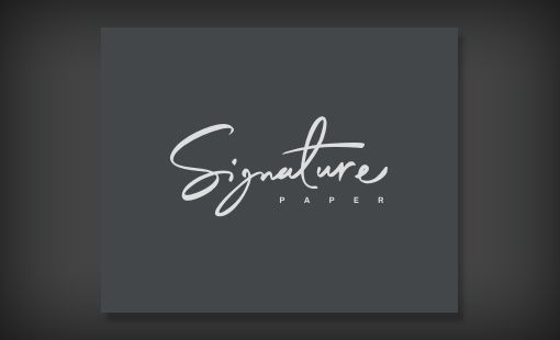 Signature Paper logo. Love the contrast of the two fonts and how they work together!