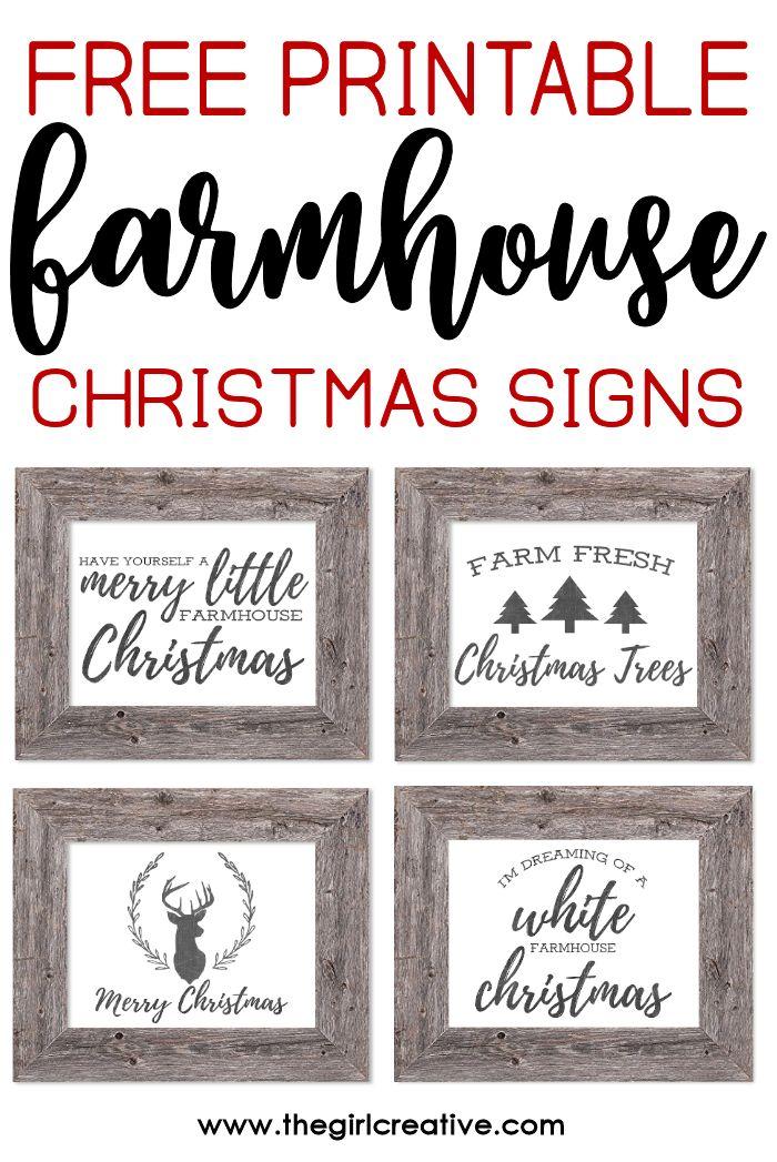 Free Printable Farmhouse Christmas Signs Free christmas